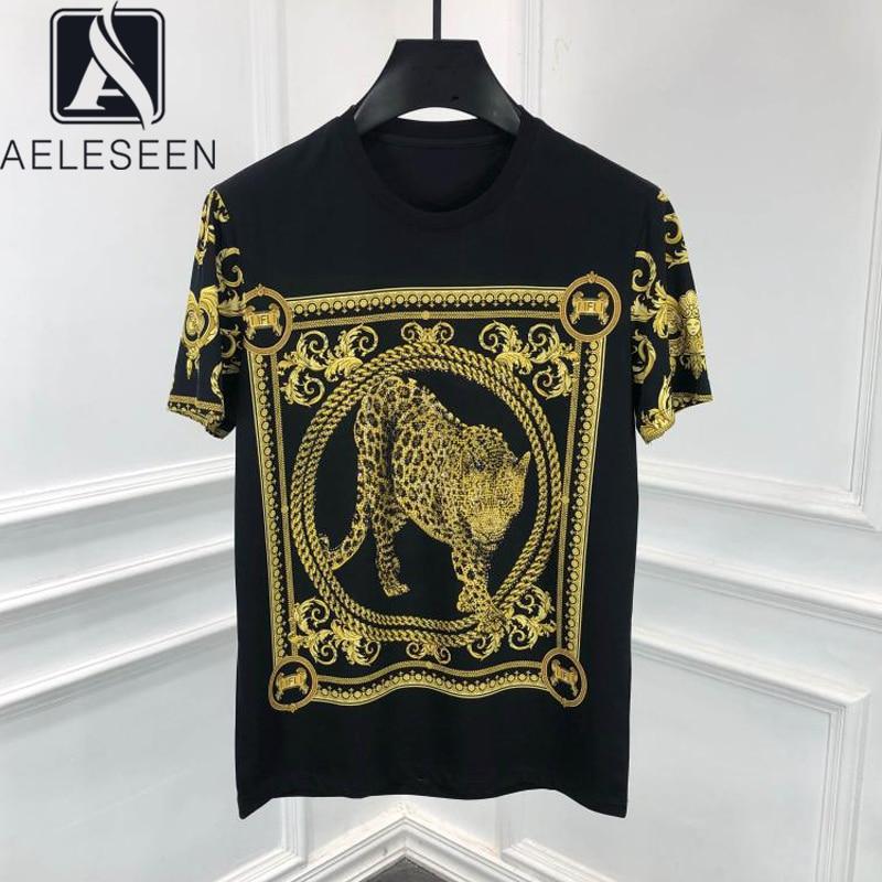 AELESEEN Casual Tees 2020 Spring Summer Loose Women T-shirt Beading Leopard Gothic Dropshipping Streetwear Tops Tee Punk T-Shirt