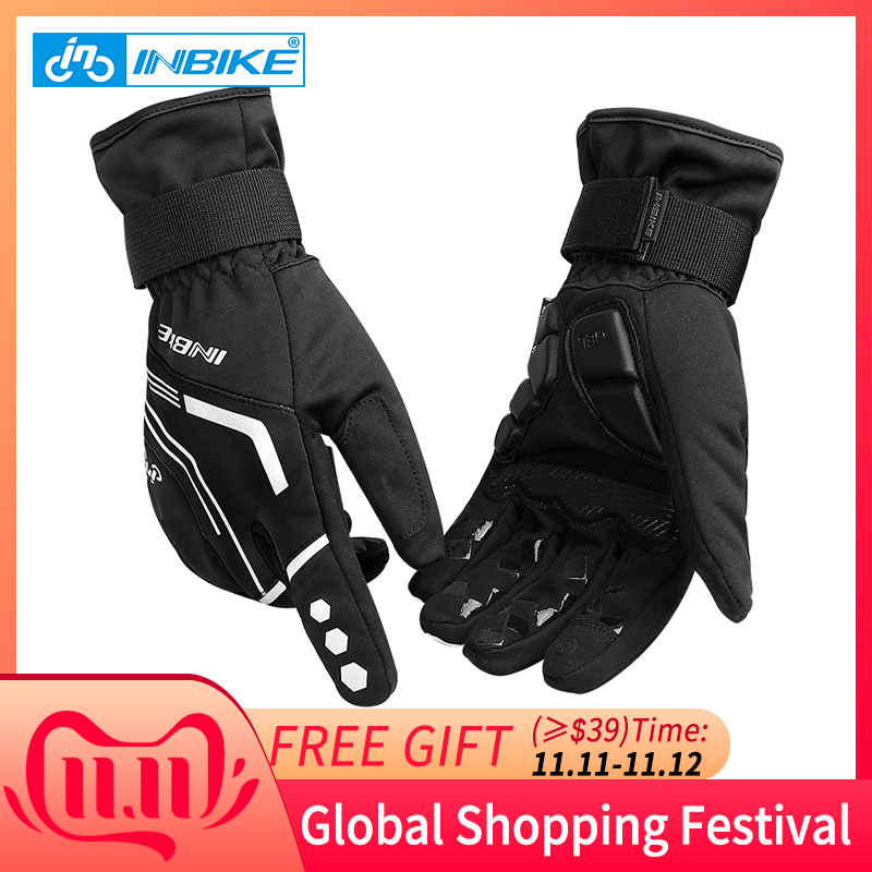 INBIKE Winter Cycling Gloves Touch Screen MTB Bike Sport Shockproof Full Finger Reflective Bicycle Glove For Men