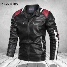 Coat Men Jacket Motorcycle Biker-Outwear Vintage Male Fashion PU Zipper Outfit Causal