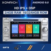 2 din Android 9.0 Car Radio For Ford Focus 2 3 mk2 Ford Fiesta Mondeo 4 C Max S Max Fusion Transit Kuga Multimedia dvdNavigation