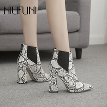 Sexy Snake Print Pointed Womens Ankle Boots Plus Size 35-42 Back Zipper Thick Heel High Heels Slim Martin Shoes