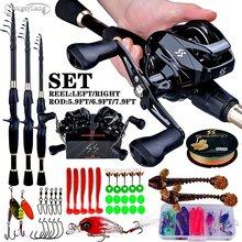 Sougayilang 1.8-2.4m télescopique coulée pêche Combo Portable ultra-léger canne et 7.2:1 rapport de vitesse pêche moulinet pêche Combo