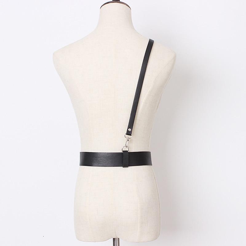 HATCYGGO Sexy Women Leather Shoulder Harness Lingerie Strap Female Trendy Body Bondage Waistband Punk Chain Belt For Women 6