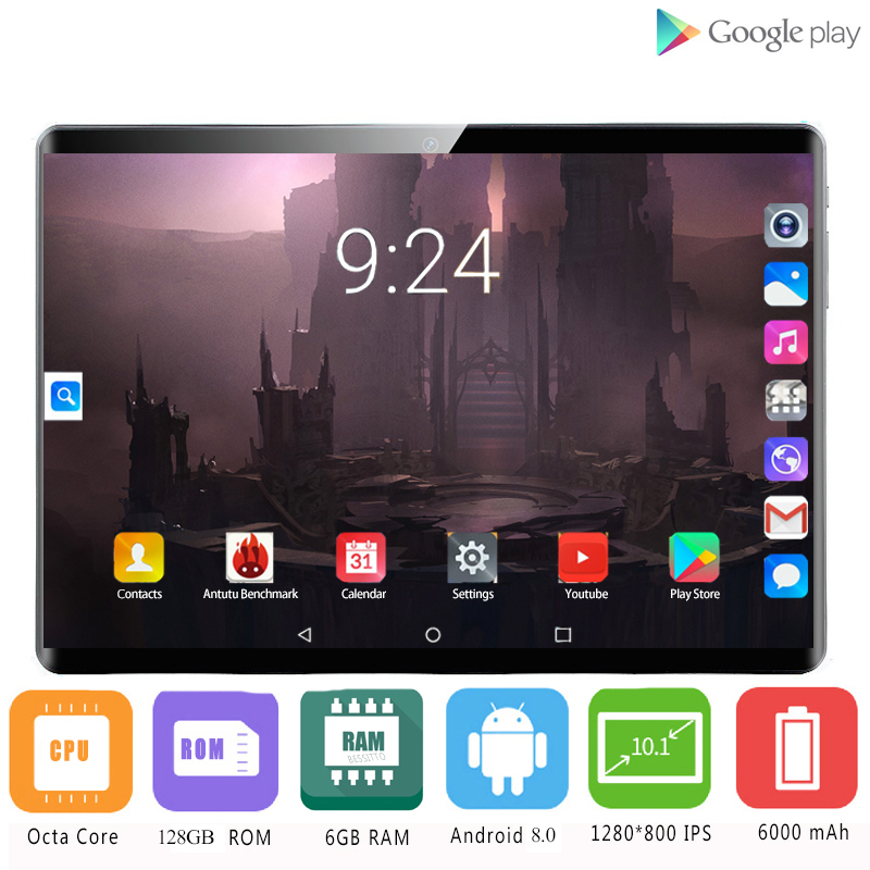 NEW 10.1 Inch Tablets Android 8.0 Deca Core 128GB ROM Dual Camera Dual SIM Tablet PC 1920X1200 GPS Bluetooth Tablet Phone