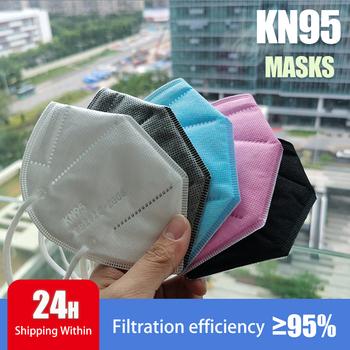 Multicolor Adult 5 Layer czarny różowy FFP2 KN95 Mascarilla Respirator tkanina maska KN95 filtr maski usta pyłoszczelna wielokrotnego użytku tanie i dobre opinie White Black Blue Gray and Pink 360° F H GB2626-2006 Chin kontynentalnych Włókniny