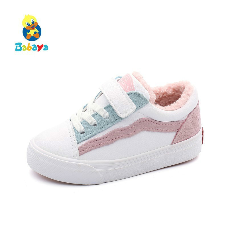 babaya 2019 Winter Shoes New Baby Casual Shoes Girls Sneakers Artificial Leather Fashion Children Shoes Boys Warm Winter Kids title=