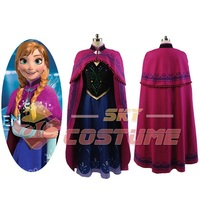 Hot Movie Elsa Princess Anna Cosplay Costume Dress Cloak Halloween Pary For Adult Women Girls Party Cosplay Costume Full Set