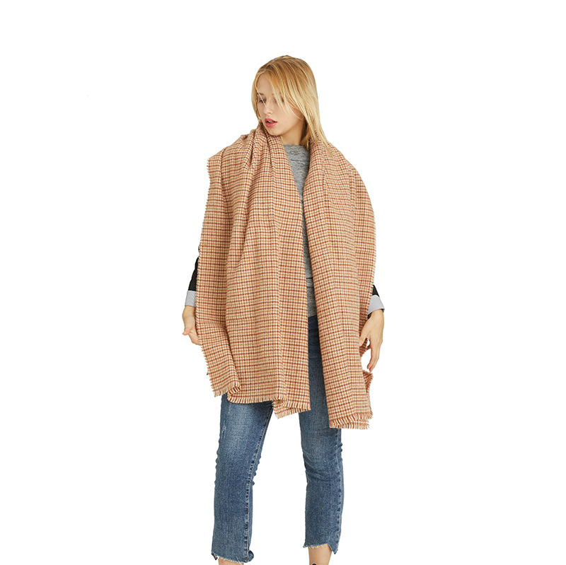 Limited Edition  Thousand bird plaid scarf women's autumn and winter tide Korean version of the hundred-set plaid pl