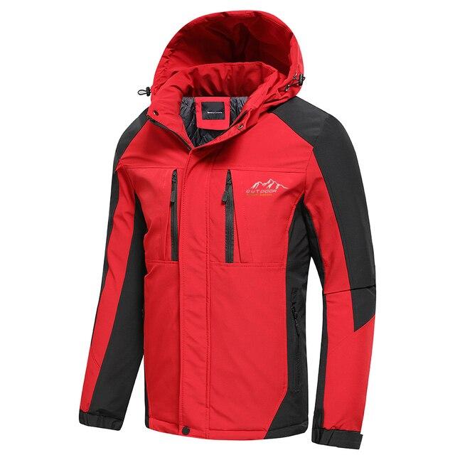 Oiata Men 2021 Spring New Brand Outdoor Vintage Thick Jacket Coat Men Autumn Fashion Patchwork Waterproof Pockets Hat Jackets 5