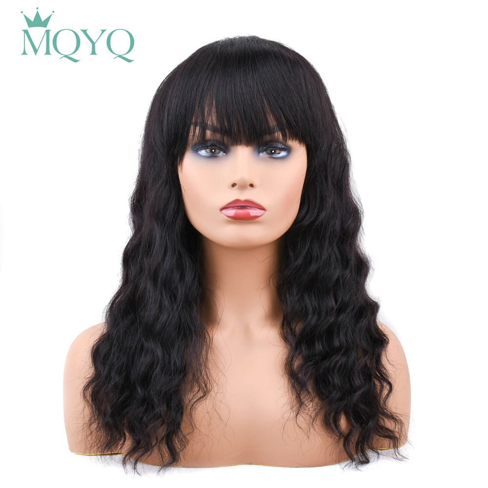 MQYQ Malaysian Ocean Wave Human Hair Wigs With Adjustable Bangs 14inch Short Wigs Machine Natural Color Non Remy Wigs