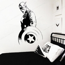 movie Captain America wall sticker vinyl superhero wall decal Home Decor boys bedroom Wall decor JH371 movie cartoon characters wall sticker vinyl boys room wall decor movie wall decal art mural jh377