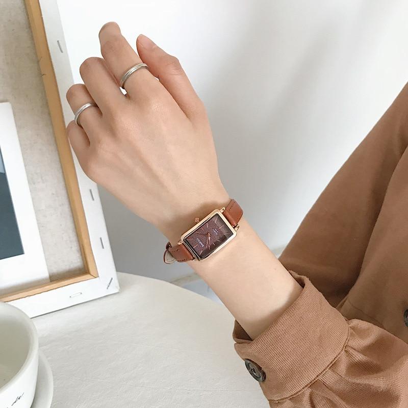 Прямоугольные качества, женские часы, модные простые женские наручные часы, коричневый винтажный кожаный ремешок, ретро женские кварцевые часы, подарки|Женские часы|   | АлиЭкспресс