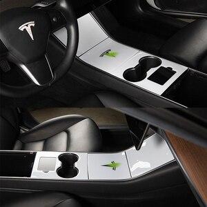 Image 4 - Heenvn Model3 Car CenterคอนโซลCentraleสำหรับTeslaรุ่น 3 สติกเกอร์คาร์บอนไฟเบอร์สำหรับTeslaรุ่นYสามสีขาวอุปกรณ์เสริม