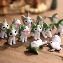 6Pcs Cat Terrarium Cheese Cat Figurines Miniature Figurine Fairy Garden Miniatures Garden Decoration Miniature Fairy Figurines