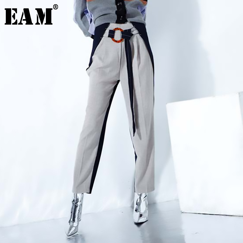[EAM] 2020 New Spring Autumn High Waist Khaki Hit Color Belt Split Joint Leisure Loose Pants Women Trousers Fashion Tide JO374