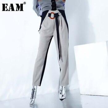 [EAM] 2020 New Spring Autumn High Waist Khaki Hit Color Belt Split Joint Leisure Loose Pants Women Trousers Fashion Tide JO374