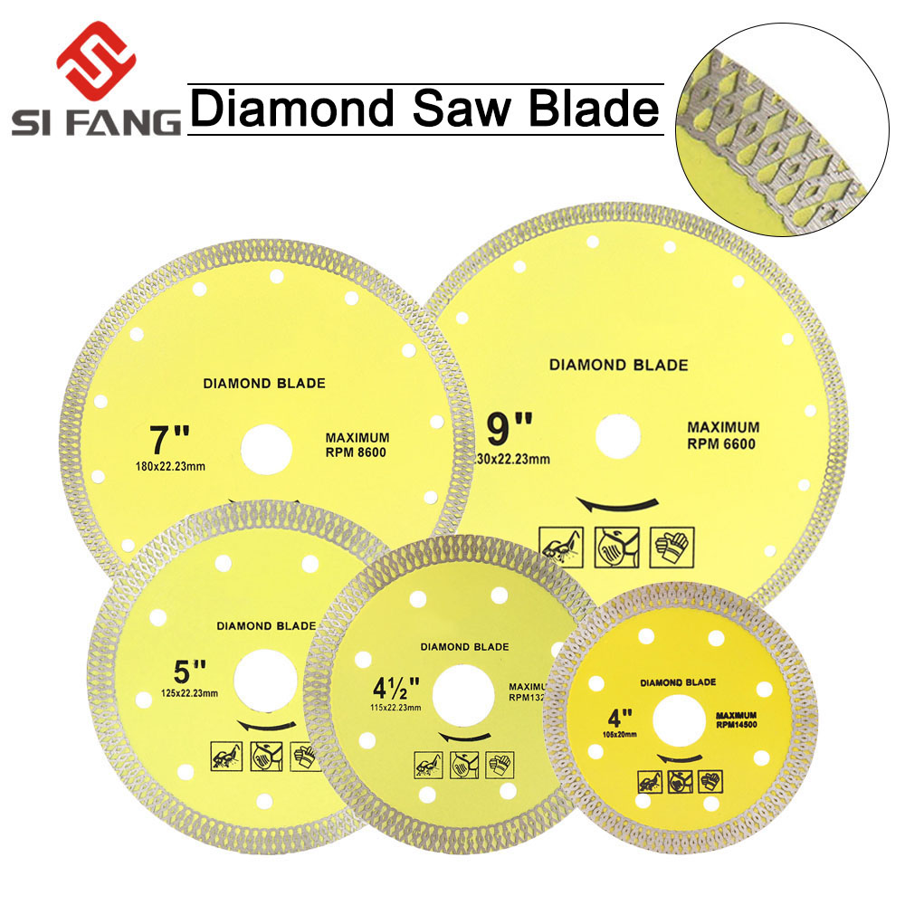 105mm/115mm/125mm/180mm/230mm Super Thin Diamond Cutting Disc Turbo Rim Segment Diamond Saw Blades For Cutting Porcelain Tiles