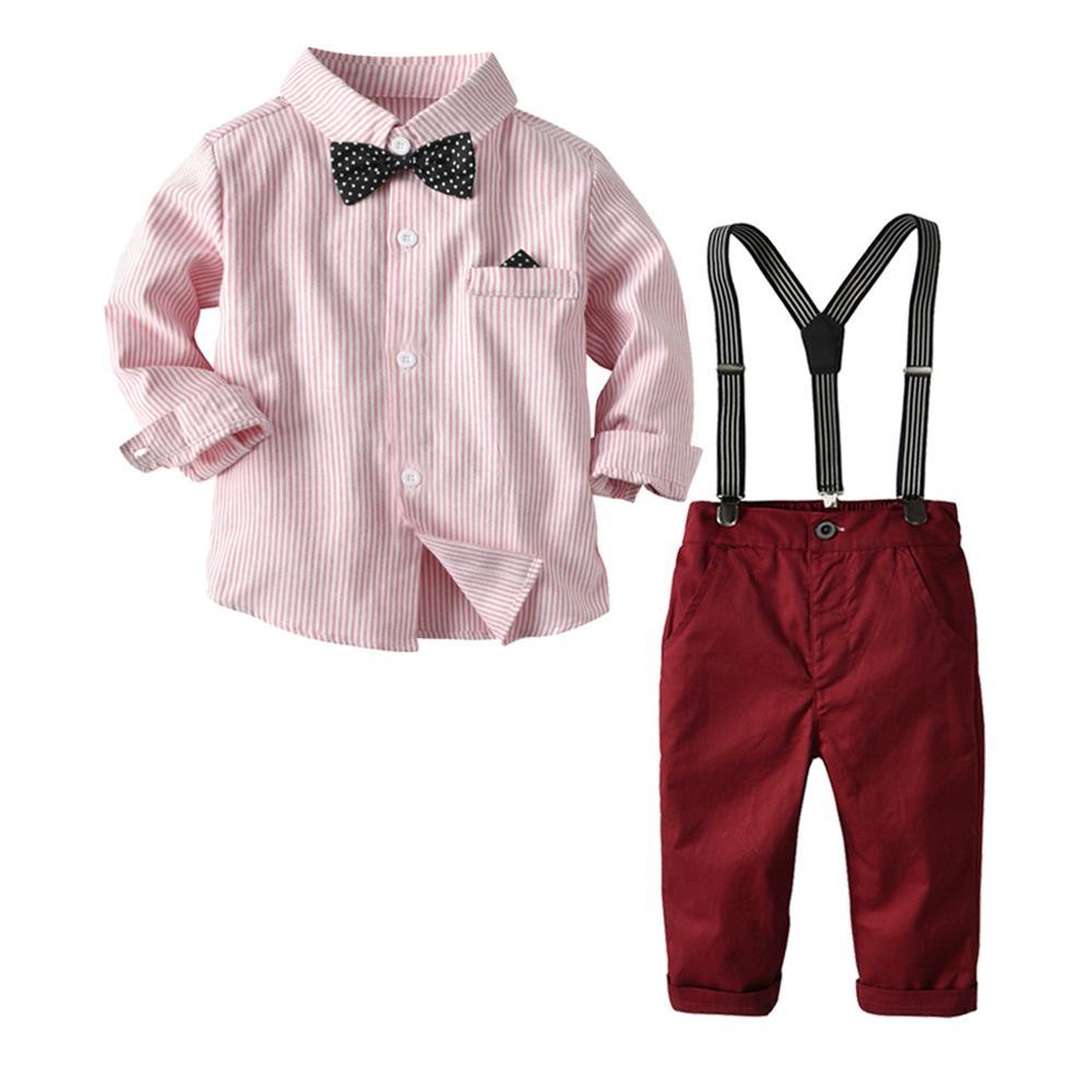 Kids Baby Jongens Kleding Sets Jongens Gentleman Streep Strikje T-shirt Tops + Jarretel Broek Outfits Baby Jongens Mode Kleding RL2