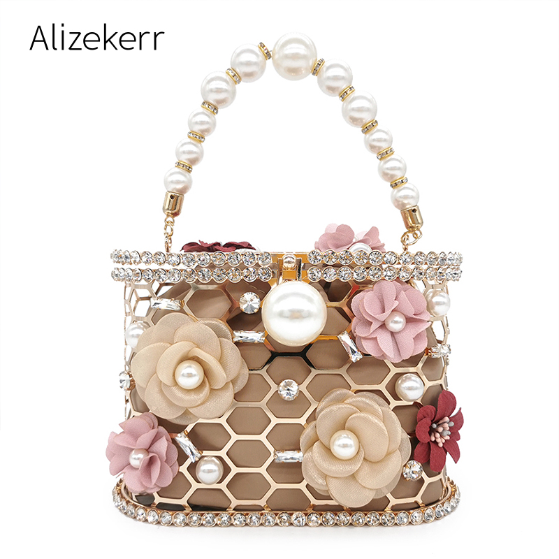 Flower Pearl Women Clutches Evening Bags Rhinestone 2020 Luxury Ladies Diamond Gold Clutch Purse Wedding Party Metal Honeycomb