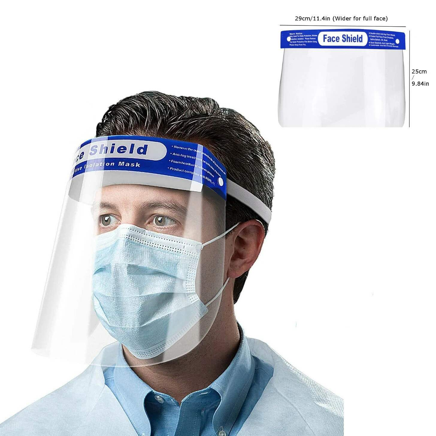 2PCS Face Hat Helmet Face Protective Shield Anti-spittle Anti-fog Transparent Plastic Face Cover Protection Work With Facemask