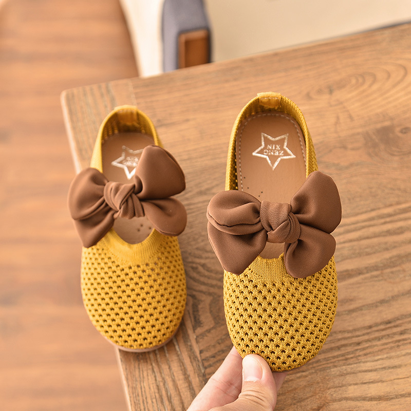 2020 Spring Children's Shoes Baby Girls Girls Bowtie Princess Shoes Toddler Kids Mesh Breathable Peas Shoes Girls Dance Footwear