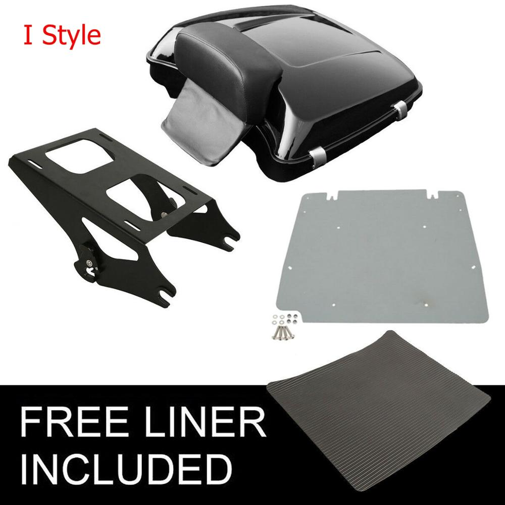 "Image 2 - Motorcycle 5.5"" Razor Pack Trunk Backrest Rack For Harley Tour Pak Touring Electra Glide Road King Street Glide 2014 2019"