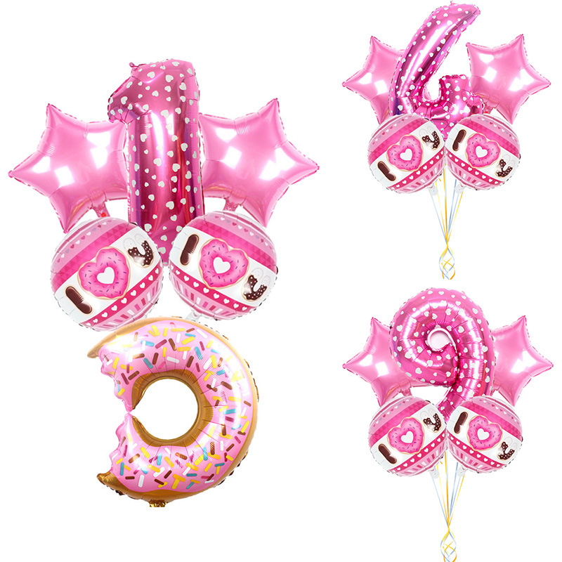 Pink Sweet Donut Theme Party Foil Balloons 32inch  Number Balloon Kids Birthday Party Decorations Cartoon Hat