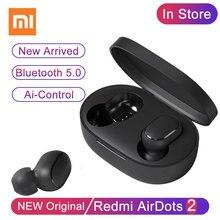 Xiaomi Bezprzewodowe słuchawki douszne TWS Redmi Airdots 2, z Bluetooth 5.0, z mikrofonem, kontrolowane przez sztuczną inteligencję, wolne ręce, zestaw słuchawkowy, z podbiciem basu i redukcją szumu