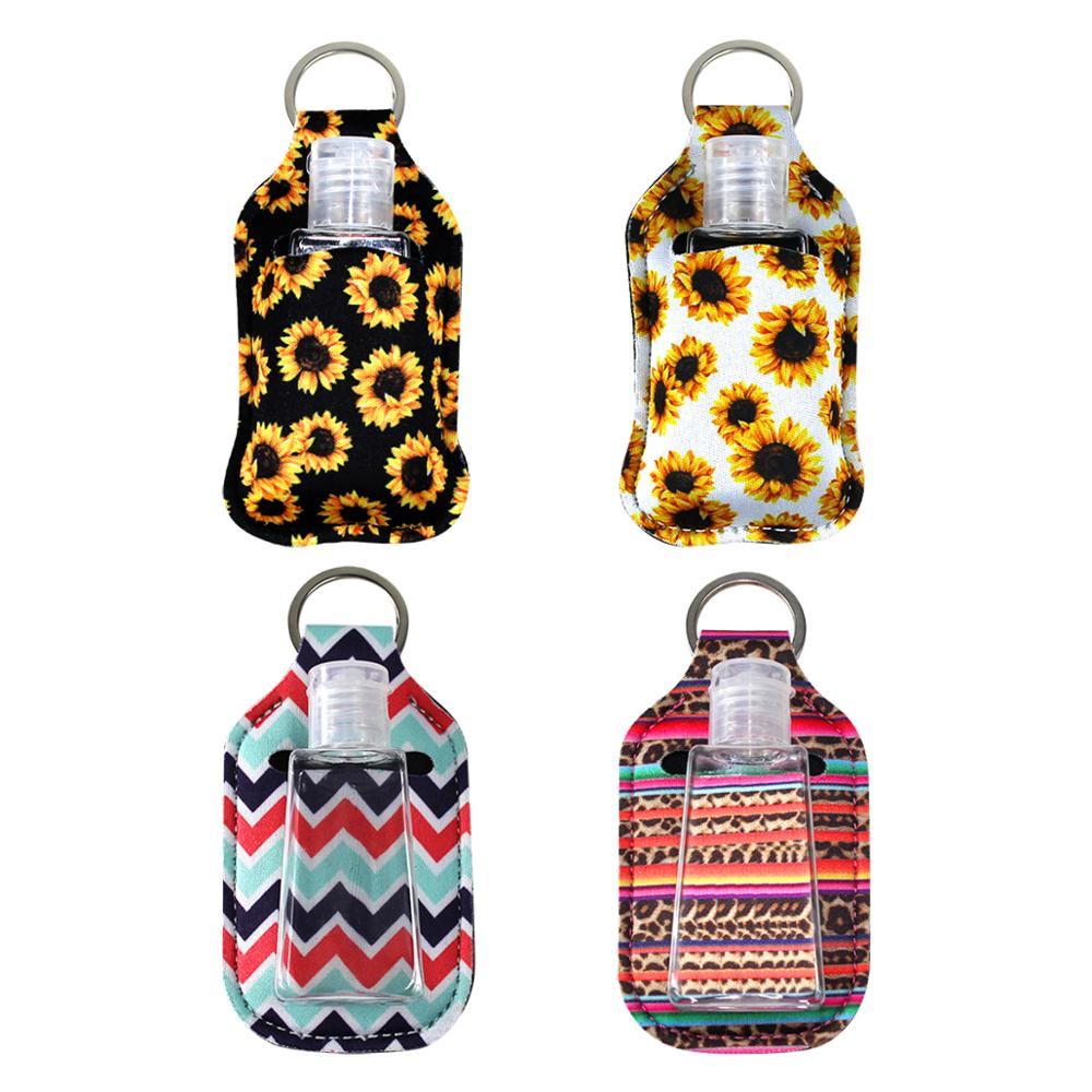 Mini Hand Sanitizer Keychain Holder Travel Bottle Refillable Containers 30ml Flip Cap Reusable Bottles with Keychain Carrier
