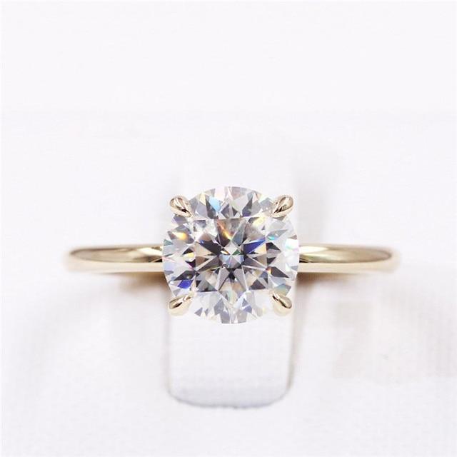 CxsJeremy 2.0Ct Round Solitaire Moissanite Engagement Ring14K Yellow Gold Moissanite Diamond Wedding Band Anniversary Gift