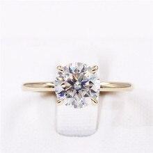 CxsJeremy 2.0Ct yuvarlak Solitaire Moissanite nişan Ring14K sarı altın Moissanite elmas düğün Band yıldönümü hediyesi