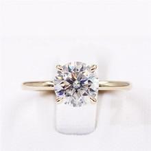 Cxsjeremy 2.0Ct Ronde Solitaire Moissanite Engagement Ring14K Geel Goud Moissanite Diamond Wedding Band Anniversary Gift
