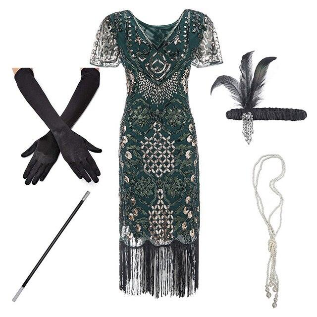 1920sフラッパー轟音プラスサイズ20sグレートギャツビーフリンジスパンコールビーズドレスと修飾語アールデコ調のドレスアクセサリーxxxl