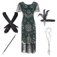 1920s Flapper Roaring Più Il Formato 20s Grande Gatsby Con Frange di Paillettes Bordato il Vestito e Abbellito Art Deco Accessori Del Vestito XXXL