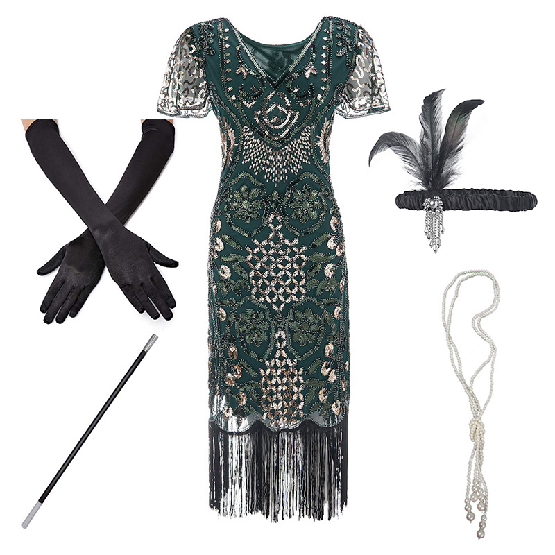 1920s Flapper Roaring Plus  Size 20s Great Gatsby Fringed Sequin Beaded Dress And Embellished Art Deco Dress Accessories XXXL