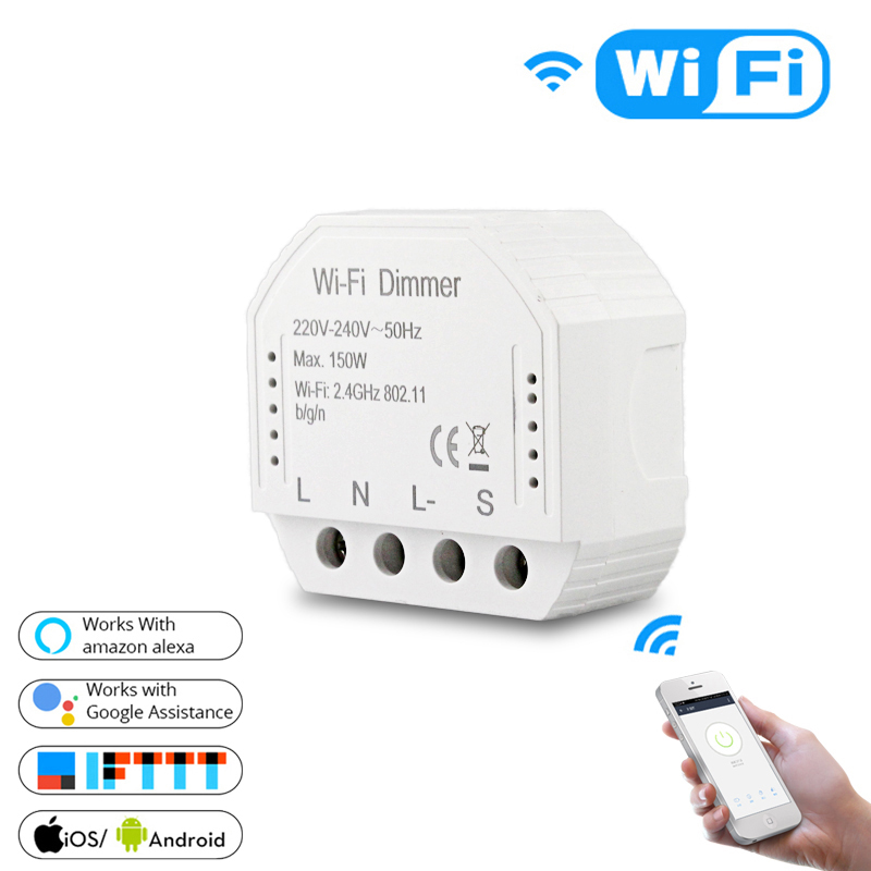 2 Way Wifi Dimmer Switch LED Smart Breaker Module Remote Control Compatible With Alexa Echo Google Home