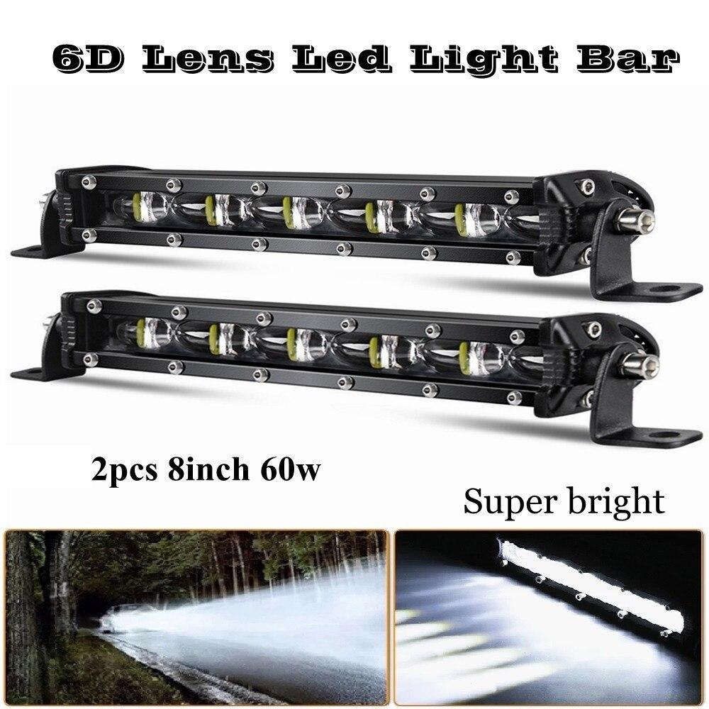 2 шт. 8 дюймов 60 Вт 6D объектив СВЕТОДИОДНЫЙ светильник баров комбо светодиодный рабочий светильник для 4x4 внедорожных Грузовиков, внедорожни...
