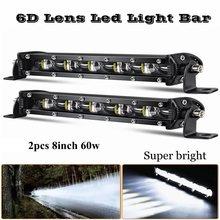 2 pces 8 Polegada 60w 6d lente led barra de luz combo conduziu a luz do trabalho para 4x4 fora da estrada caminhões suv atv 4wd 12v 24v luzes de nevoeiro condução automática