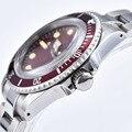 Relógio masculino mecânico automático 39.5mm vermelho estéril dial vermelho folha de alumínio moldura luminosa