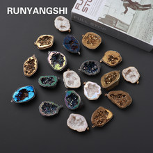 1PC Natural Agate Cave Crystals electroplate Irregular DIY Hand Made Gems Pendant Shiny Gem Sparkling Healing Stone Necklace
