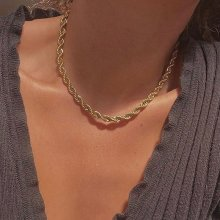 Hip hop punk 3mm aço inoxidável swag torção corda corrente colar para mulheres colar de cor de ouro moda jóias acessórios