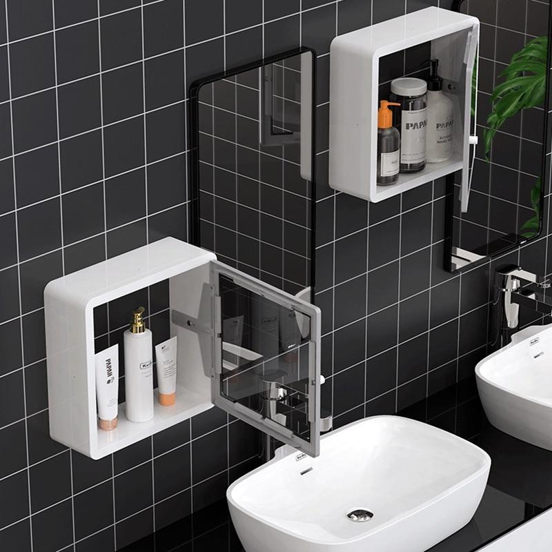 Toilet Shelf Bathroom Storage Organization Waterproof Wall Shelves Dustproof Plastic Storage Shelf With Mirror Door For Bathroom