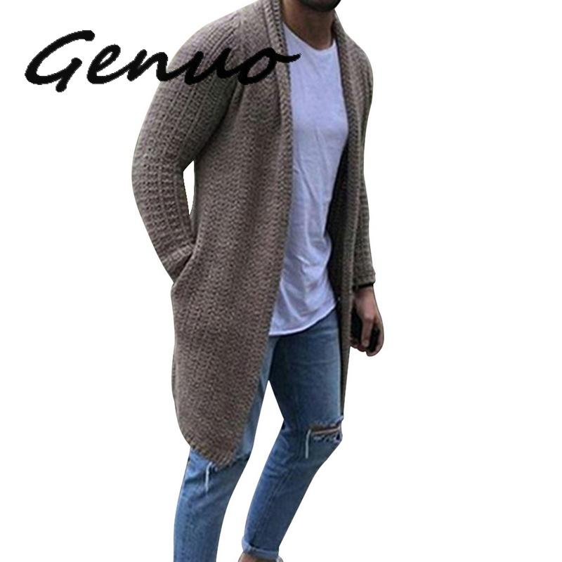 Genuo 2019 Casual Solid Men Cardigan Streetwear Long Sleeve Knitted Sweaters Autumn Mens Slim Fit Sweater Overcoat Plus Size 3XL