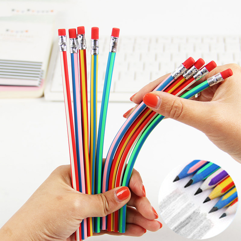 Creative Colorful Magic Bendy Flexible Soft Pencil With Eraser Stationery Student Colored Pencils School Office Supplies