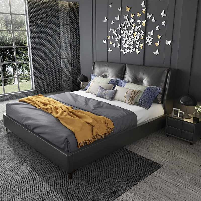 Northern European-Style Leather Bed Minimalist Modern Small Apartment Soft Bag Light Luxury Bed 1.5 M 1.8 M Double Bed Solid Woo