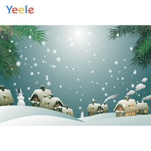 Yeele Christmas Photocall Chalets Fallen Snow Pine Photography Backdrops Personalized Photographic Backgrounds For Photo Studio