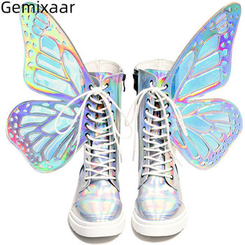 Runway Decor Bow-knot Platform Boots Multy Color Butterfly-wing Cross-tied Shoes Woman Bling T-show High Women Boots