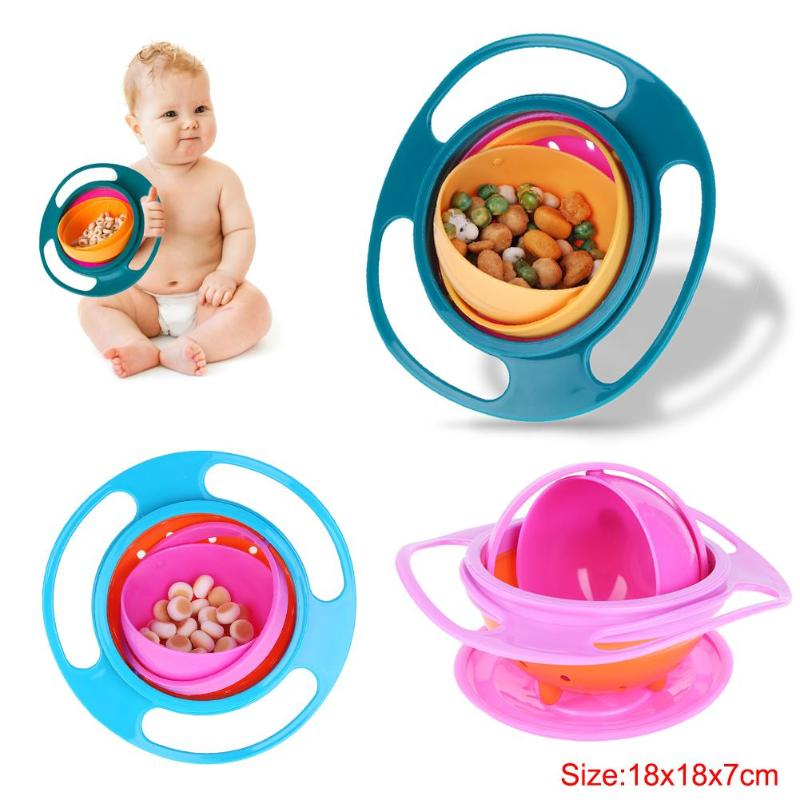 Baby Feeding Dish Cute Baby Kids Universal 360 Rotate Spill-Proof Bowl