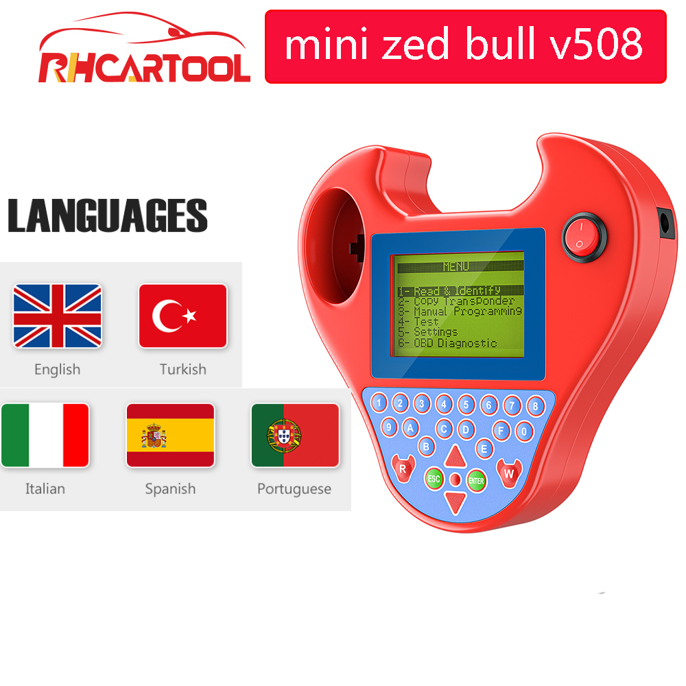 OBD2 Mini Zed-bull V508 Auto Key Transponder Programmer Pocket Type No Tokens No Login Smart Zed bull key copy Chip auto tool