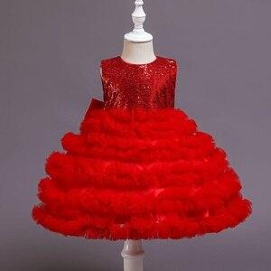 Image 4 - Kız elbise vaftiz elbise bebek pembe petal zarif çiçek kız düğün elbise tutu prenses bebek kız elbise